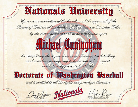 "Washington Nationals Ultimate Baseball Fan Personalized Diploma - 8.5"" x 11"""
