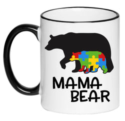 Mama Bear Autism Awareness, Puzzle piece, Gift for Her, Hot Chocolate, 11 Ounce Ceramic Mug