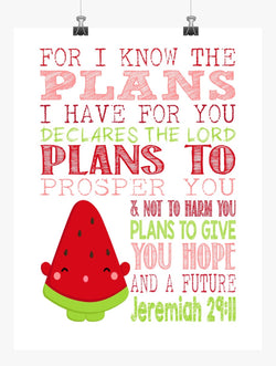 Melonie Pips Shopkins Christian Nursery Decor Print, For I Know The Plans I Have For You - Jeremiah 29:11