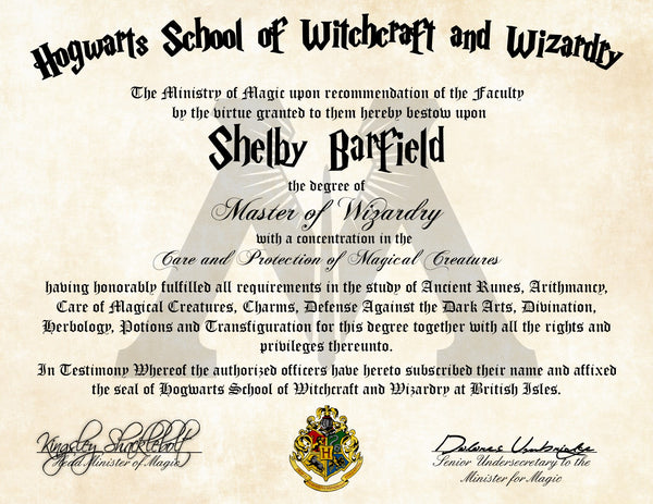 Ministry of Magic Personalized Harry Potter Diploma - Hogwarts School of Witchcraft and Wizardry Degree