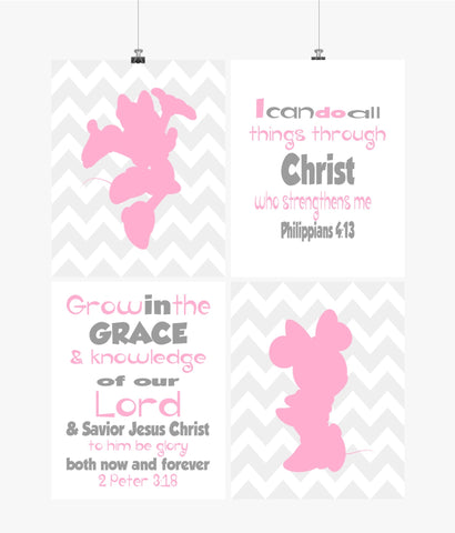 Minnie Mouse Christian Nursery Decor Set of 4 Prints - Chevron Pink and Gray
