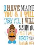 Toy Story Christian Nursery Decor Set of 4 Prints, Woody, Buzz Lightyear, Slinky Dog and Mr. Potato Head