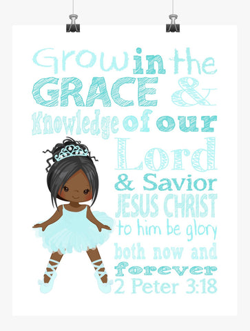 African American Ballerina Christian Nursery Decor Print, Grow in Grace and Knowledge