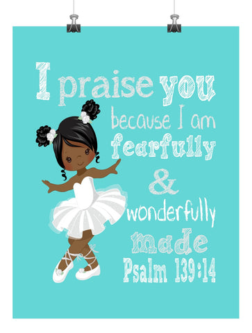 African American Ballerina Christian Nursery Print Fearfully & Wonderfully Made Psalm 139:14