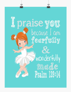 Ballerina with Red Hair Christian Nursery Decor Print, Fearfully & Wonderfully Made Psalm 139:14