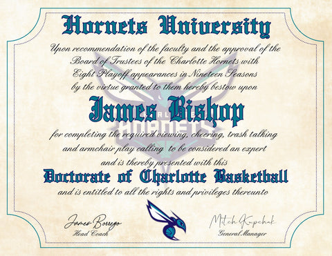 "Charlotte Hornets Ultimate Basketball Fan Personalized Diploma - 8.5"" x 11"" Parchment Paper"