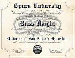 "San Antonio Spurs Ultimate Basketball Fan Personalized Diploma - Perfect Gift - 8.5"" x 11"" Parchment Paper"