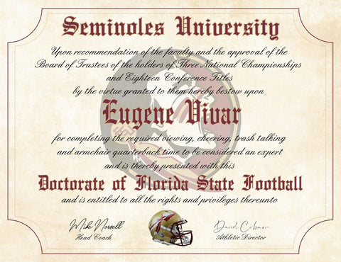 "Florida State Seminoles Ultimate Football Fan Personalized Diploma - 8.5"" x 11"" Parchment Paper"