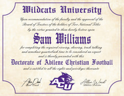 "Abilene Christian University Wildcats Ultimate Football Fan Personalized 8.5"" x 11"" Diploma"