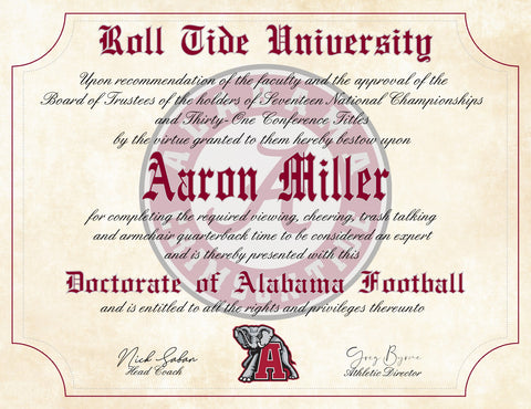 "Alabama Crimson Tide Ultimate Football Fan Personalized Novelty Diploma - 8.5"" x 11"" Parchment Paper"