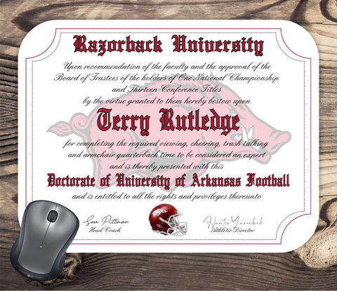 Personalized Arkansas Razorbacks Ultimate football Fan Diploma Mouse Pad
