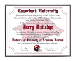 Personalized Wood Plaque of the Arkansas Razorbacks Ultimate Football Fan Diploma