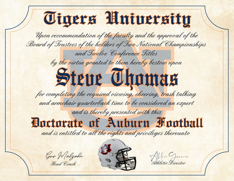 "Auburn Tigers Ultimate Football Fan Personalized Diploma - 8.5"" x 11"" Parchment Paper"