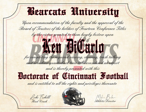 "Cincinnati Bearcats Ultimate Football Fan Personalized Diploma - 8.5"" x 11"" Parchment Paper"