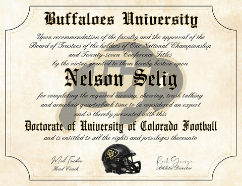 "Colorado Buffaloes Ultimate Football Fan Personalized Diploma - 8.5"" x 11"" Parchment Paper"