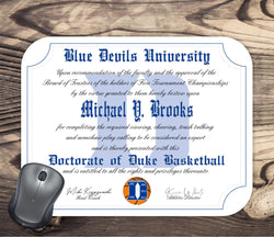 Duke Blue Devils Ultimate Basketball Fan Personalized Diploma - Mouse Pad