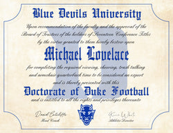 "Duke Blue Devils Ultimate Football Fan Personalized Diploma - 8.5"" x 11"" Parchment Paper"