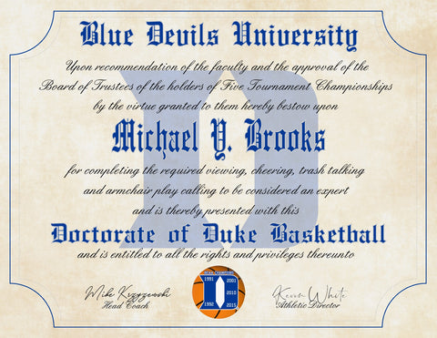 "Duke Blue Devils Ultimate Basketball Fan Personalized Diploma - 8.5"" x 11"" Parchment Paper"