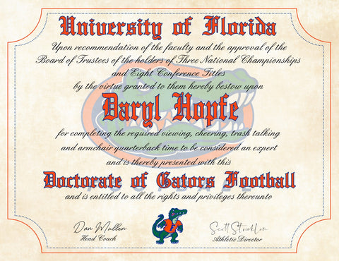 "Florida Gators Ultimate Football Fan Personalized Diploma on 8.5"" x 11"" Parchment Paper"