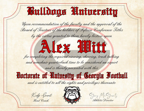 "Georgia Bulldogs Ultimate Football Fan Personalized Diploma - 8.5"" x 11"" Parchment Paper"
