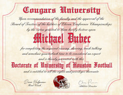 "University of Houston Cougars Ultimate Football Fan Personalized Diploma - 8.5"" x 11"""