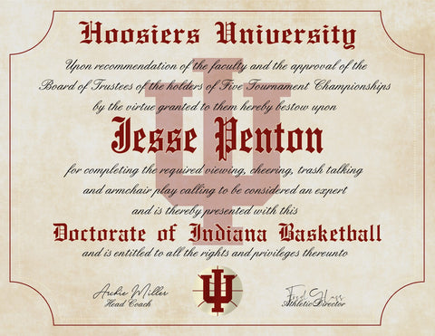 "Indiana Hoosiers Ultimate Basketball Fan Personalized Diploma - 8.5"" x 11"" Parchment Paper"