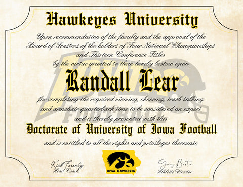 "Iowa Hawkeyes Ultimate Football Fan Personalized Diploma - 8.5"" x 11"" Parchment Paper"