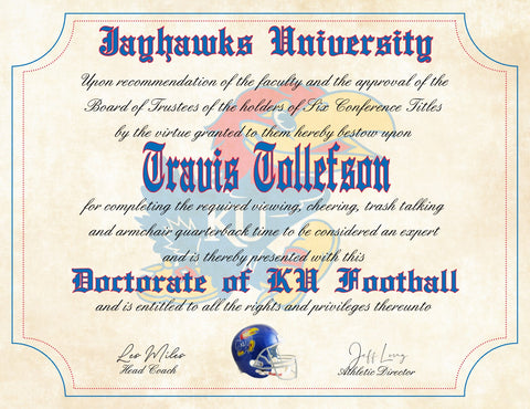 "Kansas Jayhawks Ultimate Football Fan Personalized Diploma - 8.5"" x 11"" Parchment Paper"