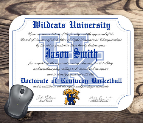 Personalized Kentucky Wildcats Ultimate Basketball Fan Diploma - Mouse Pad