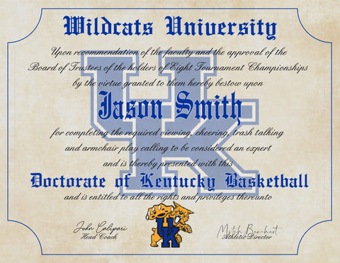 "Kentucky Wildcats Ultimate Basketball Fan Personalized Diploma - 8.5"" x 11"" Parchment Paper"
