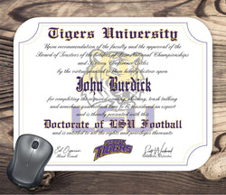 Personalized LSU Tigers Ultimate football Fan Diploma Mouse Pad