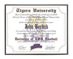 Personalized Wood Plaque of the LSU Tigers Ultimate Football Fan Diploma