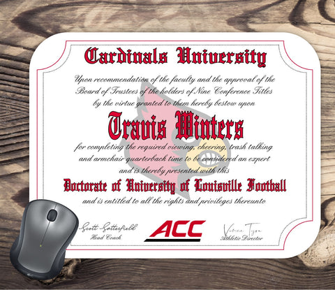 Louisville Cardinals Ultimate Football Fan Personalized Diploma Mouse Pad