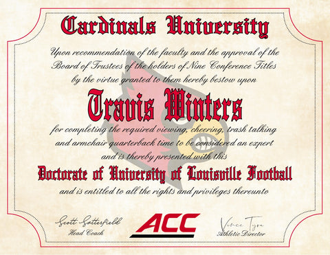 "Louisville Cardinals Ultimate Football Fan Personalized Diploma - 8.5"" x 11"" Parchment Paper"