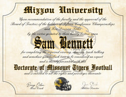 "Missouri Tigers Ultimate Mizzou Football Fan Personalized Diploma - 8.5"" x 11"" Parchment Paper"