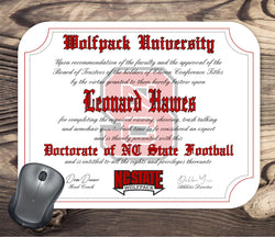 NC State Wolfpack Ultimate Football Fan Personalized Diploma Mouse Pad