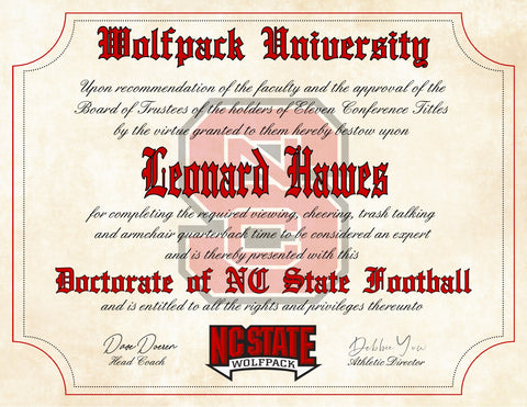 "NC State Wolfpack Ultimate Football Fan Personalized Diploma - 8.5"" x 11"" Parchment Paper"