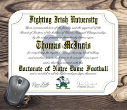 Notre Dame Fighting Irish Ultimate Football Fan Personalized Diploma Mouse Pad