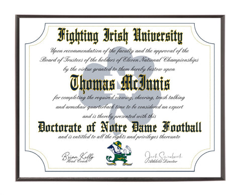 Personalized Wood Plaque of the Notre Dame Fighting Irish Ultimate Football Fan Diploma