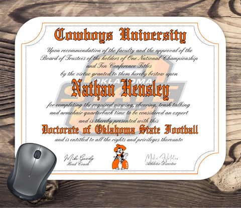 Oklahoma State University Cowboys Ultimate Football Fan Personalized Diploma Mouse Pad