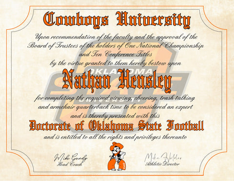 "Oklahoma State Cowboys Ultimate Football Fan Personalized Diploma - 8.5"" x 11"" Parchment Paper"