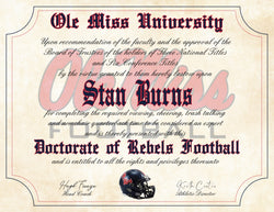 "Ole Miss Rebels Ultimate Football Fan Personalized Diploma - 8.5"" x 11"" Parchment Paper"