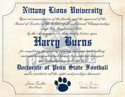"Penn State Nittany Lions Ultimate Football Fan Personalized Diploma - 8.5"" x 11"" Parchment Paper"