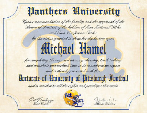 "Pitt Panthers Ultimate Football Fan Personalized Diploma - 8.5"" x 11"" Parchment Paper"