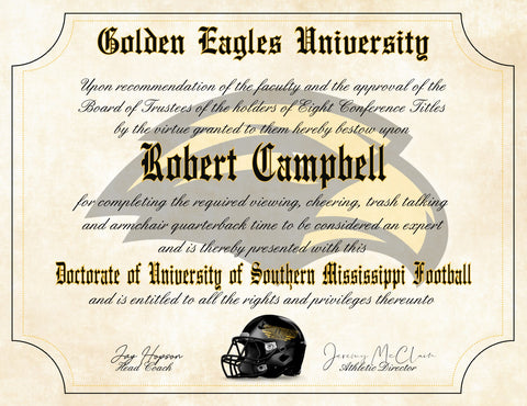 "Southern Mississippi Golden Eagles Ultimate Football Fan Personalized Diploma - 8.5"" x 11"" Parchment Paper"