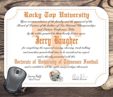 University of Tennessee Volunteers Ultimate Football Fan Personalized Diploma Mouse Pad