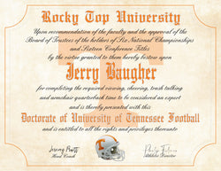 "Tennessee Volunteers Ultimate Football Fan Personalized Diploma 8.5"" x 11"" Parchment Paper"