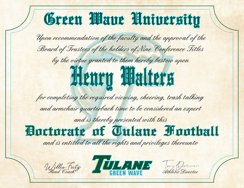 "Tulane Green Wave Ultimate Football Fan Personalized Diploma - 8.5"" x 11"" Parchment Paper"