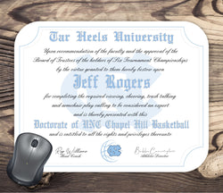 North Carolina Tar Heels Ultimate Basketball Fan Personalized Diploma - Mouse Pad