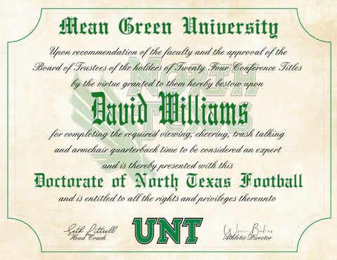 "North Texas - UNT Mean Green Ultimate Football Fan Personalized Diploma - 8.5"" x 11"" Parchment Paper"
